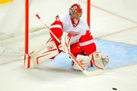 аватары: Вратарь хоккеист с клюшкой у ворот