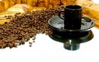 аватары: кофейные зерна и черная чашка с блюдцем