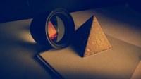аватары: объектив и пирамида на листах бумаги