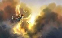 аватары: Мальчик ангел и птицы в облачном небе