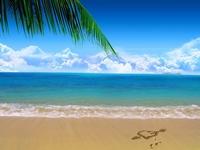 аватары: Сердце со стрелой на песке у моря