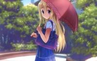 аватары: Рисунок девушки на улице с зонтиком