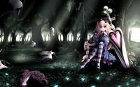 аватары: Девушка в лесу с мечем в виде сердца