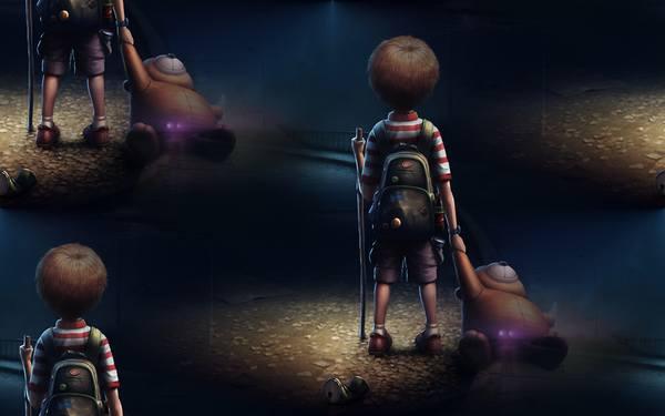 фон для дневника рисунок мальчика с игрушкой на дороге ночной