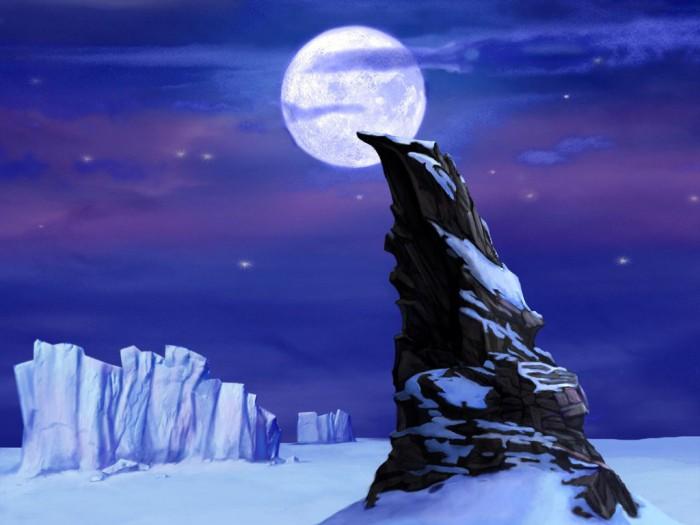 фон для дневника Скала при луне