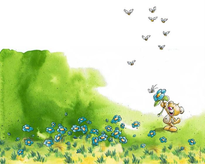 фон для дневника Мишка и пчелы