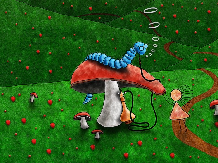 фон для дневника Гриб и гусеница