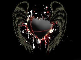 обои Черное сердце с крыльями фото