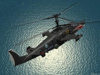 обои Вертолет над водой фото