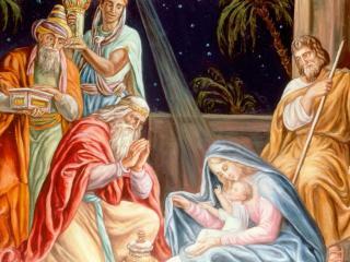 обои Сцена рождения Иисуса фото