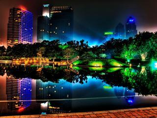 обои Яркое освещение ночного города фото