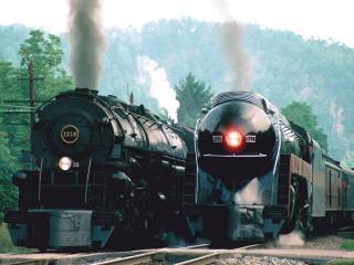 обои Norfolk and Western Steam Trains фото