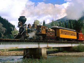 обои Поезд на мосту фото