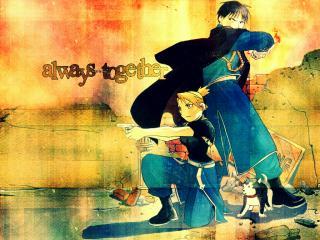 обои Fullmetal alchemist riza hawkeye roy mustang фото