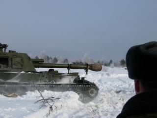 обои САУ в снегу фото