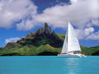 обои Катамаран во Французской Полинезии фото