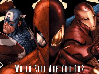 обои Spiderman ironman and captain America фото