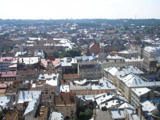 обои Вид на Львов с городской ратуши фото