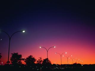 обои Фонари в темный вечер, на закате фото