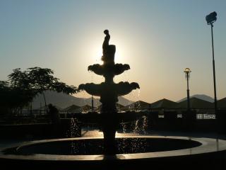 обои Фонтан и восход солнца фото