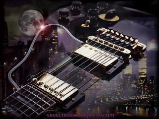 обои Гитара на фоне города фото