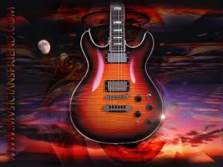 обои Гитара на фоне заката фото