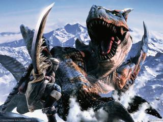 обои Monster hunter 2 динозавр VS охотник фото