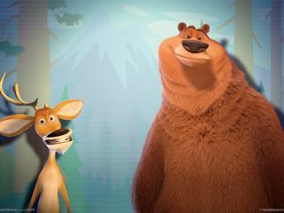 обои Open season медведь и олень фото