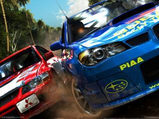 обои Sega rally revo nissan VS mitsubishi фото