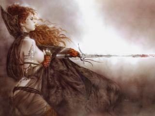 обои Рыжая воительница фото