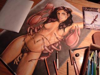 обои Рисунок девушки-краба фото
