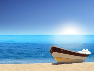 обои Море и лодка фото