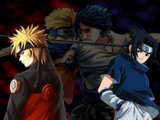 обои Uchiha Sasuke and Uzumaki Naruto four men фото