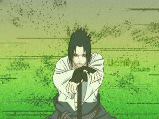 обои Uchiha Sasuke and Uzumaki Naruto in green фото