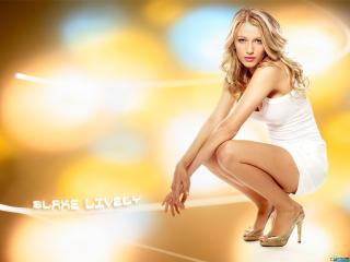 обои Blake Lively in White dress Yellow style фото