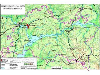 обои Общегеографическая карта республики Татарстан фото