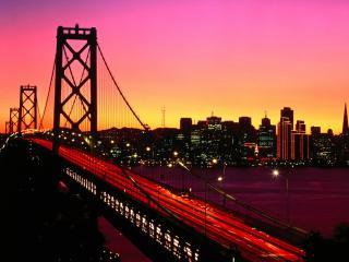 обои Мост и огни города фото