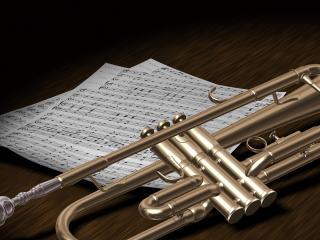 обои Рукопись и музыкальный инструмент на столе фото