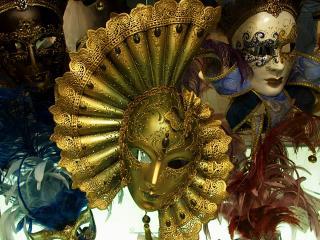 обои Золотая, венецианская маска фото