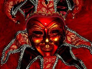 обои Красная, улыбающаяся маска фото