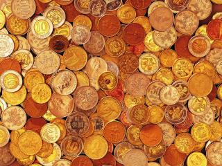 обои Монеты с изображениями королевы, лилии и аиста фото