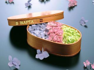 обои Коробка с цветами к 8 марта фото