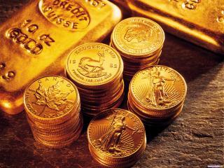 обои Золотые канадские монеты изолото в слитках фото