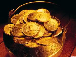 обои Золотые деньги в ковшике фото