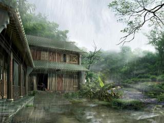 обои Дождь на окраине. Творчество китайских мастеров фотошопа фото