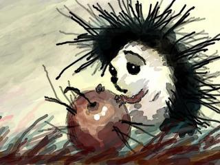 """обои """"Ёжик с яблочком"""" невиртуальный рисунок красками фото"""