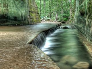 обои Водный порог в лесу фото