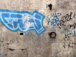 обои Синее граффити на стене фото