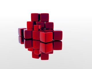 обои Красный крест из кубиков фото