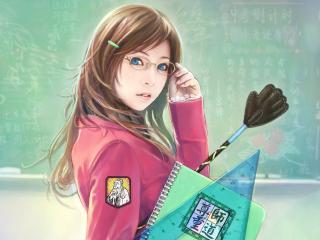 обои Элегантная школьница-японка в розовом пальто и очках фото